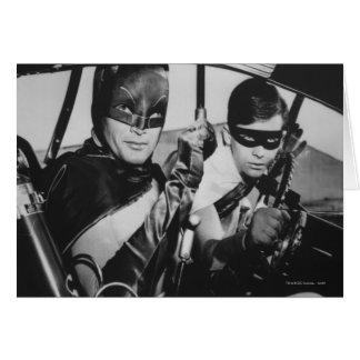 Batman y petirrojo en Batmobile Tarjeton