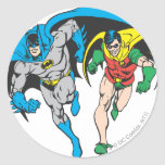 Batman y petirrojo pegatina redonda