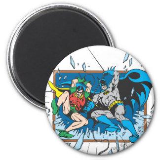 Batman y ventana del fragmento del petirrojo imán redondo 5 cm