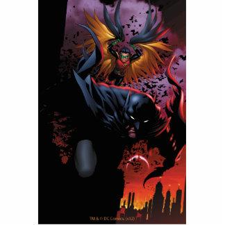 Batman y vuelo del petirrojo sobre Gotham Fotoescultura Vertical