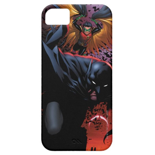 Batman y vuelo del petirrojo sobre Gotham Funda Para iPhone SE/5/5s