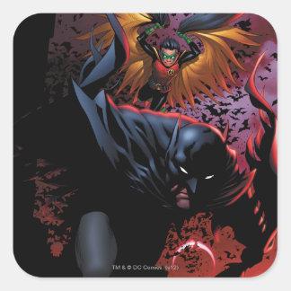 Batman y vuelo del petirrojo sobre Gotham Pegatina Cuadrada