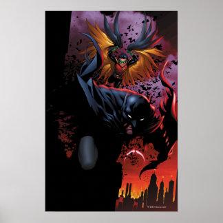 Batman y vuelo del petirrojo sobre Gotham Póster