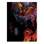Batman y vuelo del petirrojo sobre Gotham Tarjeta Postal