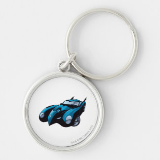 Batmobile Front Silver-Colored Round Keychain