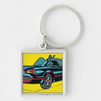 Batmobile Silver-Colored Square Keychain
