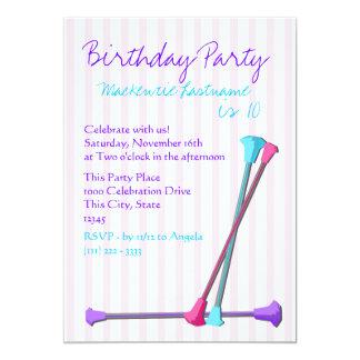 """Baton Birthday 5"""" X 7"""" Invitation Card"""