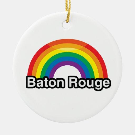 BATON ROUGE LGBT PRIDE RAINBOW -.png Christmas Ornament
