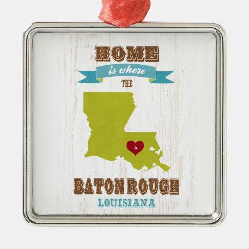 Baton Rouge, Louisiana Map – Home Is Where Christmas Ornament