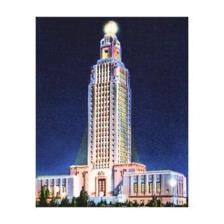 Baton Rouge Louisiana State Capitol at Night Canvas Print