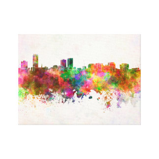 Baton Rouge skyline in watercolor background Canvas Print
