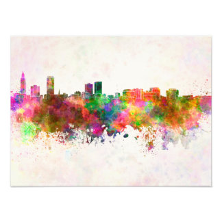 Baton Rouge skyline in watercolor background Photo Print