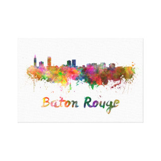 Baton Rouge skyline in watercolor Canvas Print