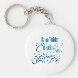 Baton Twirler Coach Swirly Basic Round Button Keychain