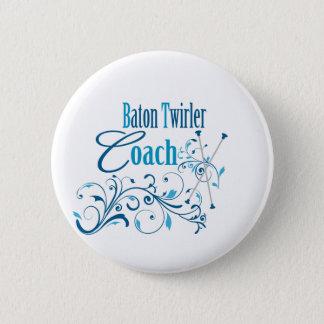 Baton Twirler Coach Swirly Button