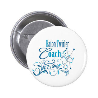 Baton Twirler Coach Swirly Button