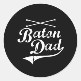Baton Twirler Dad Classic Round Sticker
