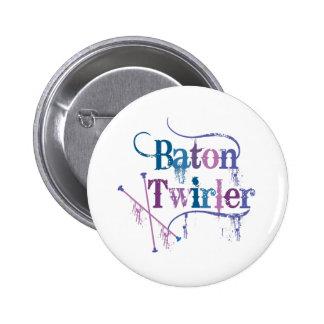 Baton Twirler Distressed Button
