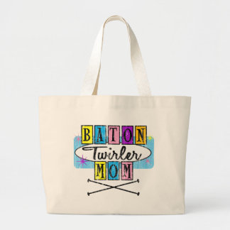 Baton Twirler Mom Retro Large Tote Bag