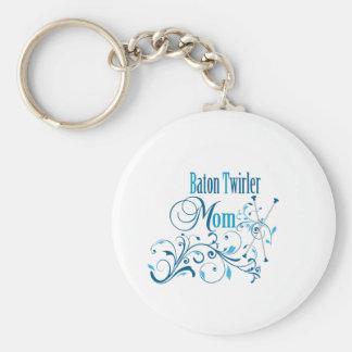 Baton Twirler Mom Swirly Basic Round Button Keychain