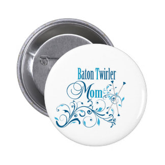 Baton Twirler Mom Swirly Button