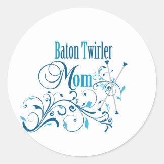 Baton Twirler Mom Swirly Classic Round Sticker