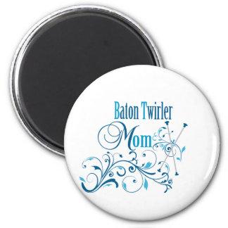 Baton Twirler Mom Swirly Refrigerator Magnet