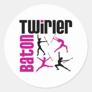 Baton Twirler Square Classic Round Sticker