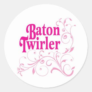 Baton Twirler Swirly Classic Round Sticker
