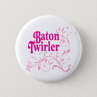 Baton Twirler Swirly Pinback Button