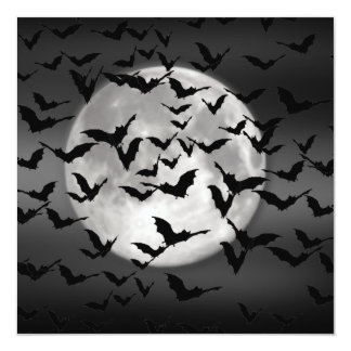 Bats And A Full Moon Card