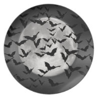 Bats and a Full Moon Dinner Plate