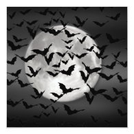 Bats And A Full Moon 5.25x5.25 Square Paper Invitation Card