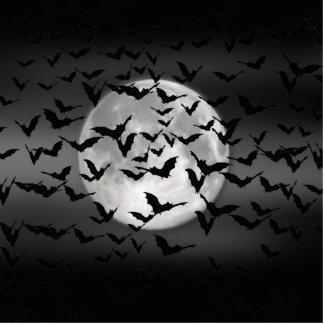 Bats And A Full Moon Standing Photo Sculpture