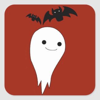 Bats And Ghost Square Sticker