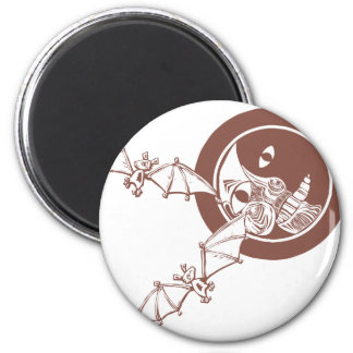 Bats and Moon 2 Inch Round Magnet