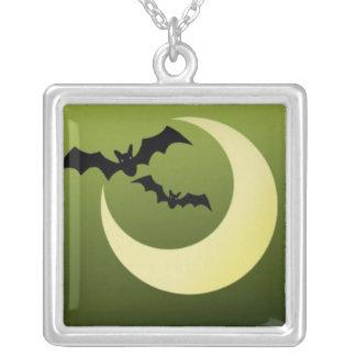 Bats and Moon on Creepy Green Backdrop Jewelry