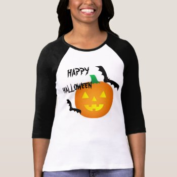 Bats And Pumpkin Halloween Tee Shirt by CREATIVEHOLIDAY at Zazzle