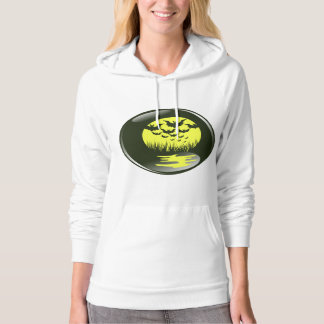 bats and reflections in front of yellow mooon hoodie