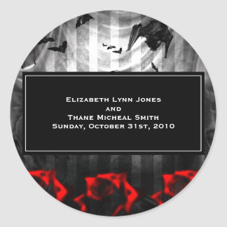 Bats and Roses Goth Classic Round Sticker