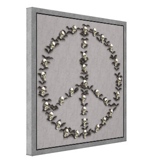Bats and Skulls Peace Sign Gallery Wrapped Canvas