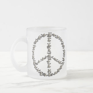 Bats and Skulls Peace Sign Frosted Glass Coffee Mug