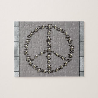 Bats and Skulls Peace Sign Jigsaw Puzzle