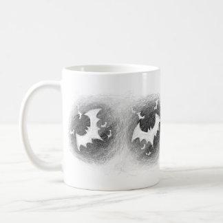Bats Black White Halloween Mug