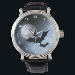 """Bats Design Watch<br><div class=""""desc"""">Wrist Watch featuring a full moon and flying bats in shades of misty blue and gray.</div>"""