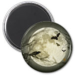 Bats fly Crow sits in Front of Halloween Full Moon 2 Inch Round Magnet