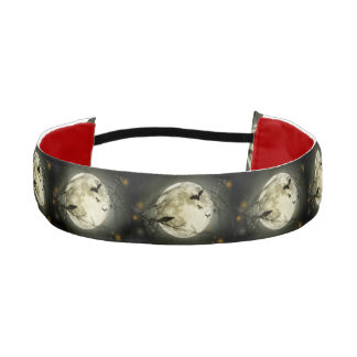 Bats fly Crow sits in Front of Halloween Full Moon Athletic Headband