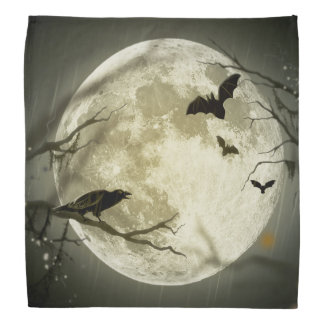 Bats fly Crow sits in Front of Halloween Full Moon Bandana