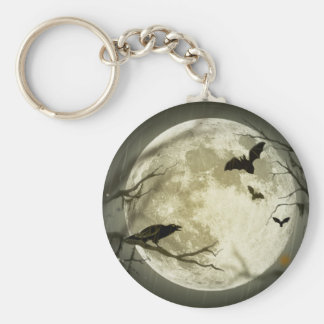 Bats fly Crow sits in Front of Halloween Full Moon Basic Round Button Keychain