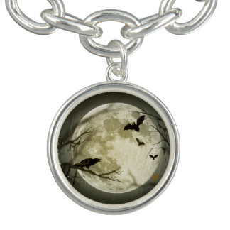 Bats fly Crow sits in Front of Halloween Full Moon Charm Bracelet